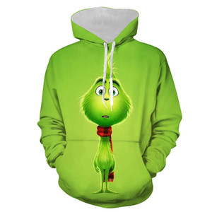 The Grinch 3D Print Cosplay Costume Hoodies Men Slipover Jacket Clown Loose and comfortable