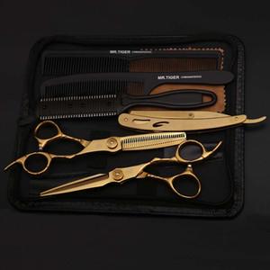 6.0 Cuchilla afilada profesional Corte de pelo Salón Scissor Makas Barber Shears Tijeras de peluquería Negro con maquinilla de afeitar para el salón de la casa