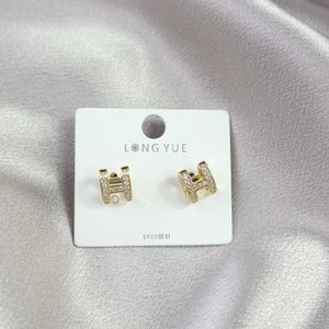 New European And American Style Personality Letter Earrings Selling Micro Inlaid Sparkling Zircon Small Fragrance Earrings