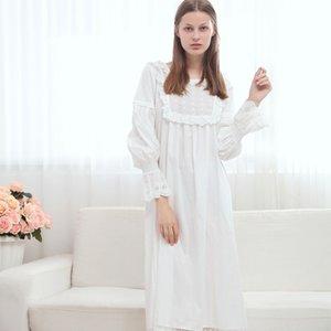 Elbise Beyaz Retro Uzun Kollu Prenses Saf Pamuk Vintage Gecelik Sleepwear Sleeping Avrupa Tarzı Marka Kadınlar Tatlı Pileli
