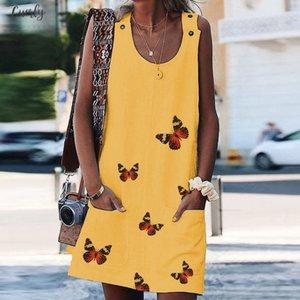 Women Boho Summer Dress Prints Button Pockets Sleeveless Dress Beach Mini Dresses Woman Party Night Summer Beach Dresses New