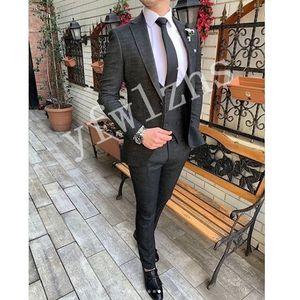 Custom-made Peak Lapel Groomsmen One Button Groom Tuxedos Men Suits Wedding Prom Dinner Best Man Blazer(Jacket+Pants+Tie+Vest) W77