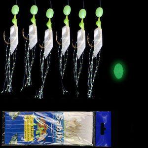 6pcs / bolsa de acero de alto carbono Enganche piel verdadera pluma de anzuelos de pesca alambre lubina Carp Fishing luminosa piel Cadena anzuelos Vivo