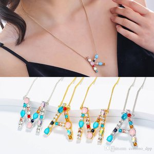 New 26 Letters Initial designer Necklace For women Rainbow Cubic zirconia CZ diamond Alphabet Pendant Gold Silver chains Disc Jewelry