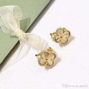 Vintage S925 argent sterling plaqué or avec de Trèfle à quatre feuilles en céramique bijoux de créateurs Boucles d'oreilles fleurs pour les femmes