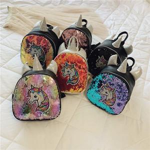 Дети рюкзак Корейский Единорог пони блестки искусственная кожа роскошные дизайнерские сумки дети родитель-ребенок пакет модные рюкзаки девушки детские сумки