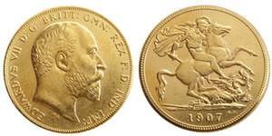 REINO UNIDO Raro 1907 moeda britânica Rei Edward VII 1 Soberano Matt 24-K Banhado A Ouro Cópia Moedas Frete Grátis