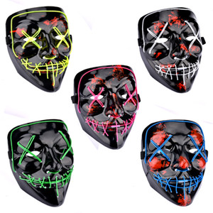 EL Halloween Led Masque Allume Drôle Masques La Purge Année D'élection Grand Festival Cosplay Costume Fournitures Parti Masques Glow In Dark