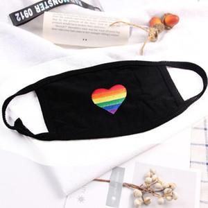 Máscaras do coração do arco-íris reutilizável Máscara de poeira Rainbow Bar Moda Máscara Algodão descartável reutilizável Boca Máscaras grátis DHL DHF330