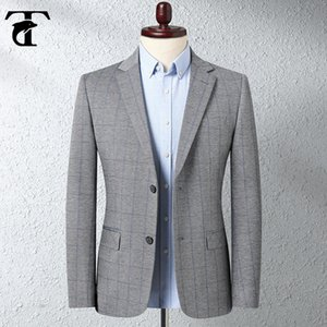 Casual Plaid Men Blazer Business Formal Knitted Elastic Two-Buttons Slim Fit Jacket Korean Version of Small Suit men Father Gift
