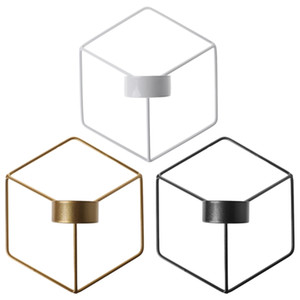 Nórdica estilo 3D geométrica Candelabro de pared de metal vela titular aplique Decoración