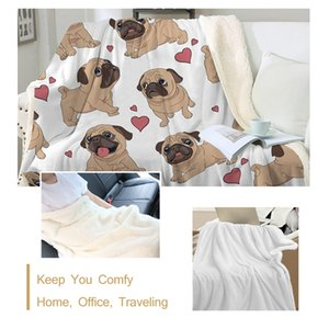 BeddingOutlet Hippie Pug Sherpa Blanket on Bed Animal Cartoon Dog Plush Throw Blanket Bedspread Christmas Bulldog Sofa Cover