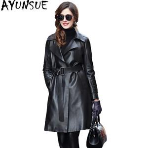 AYUNSUE 2019 Streetwear Women Genuine Leather Jacket Natural 양피 트렌치 Coat 암 긴 가을 Women 's Windbreaker VG710