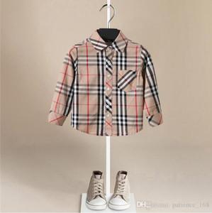 kariertes Hemd 2018 europäisches und amerikanisches NEUES Ankunftsherbst langärmliges Revershemd kleines kariertes Hemd der Jungen der reinen Baumwolle der Qualitäts
