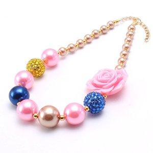Jóias Presentes Cute Pink Rose Flower Girls Chunky Beads colar de pérolas Beads Bubblegum Chunky Colar For Kids para crianças