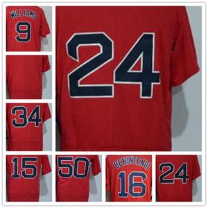 2018 Men's 9 Ted Williams 16 Benintendi #24 #34 #15 #50 Red Cool Baseball Jerseys Hongwa