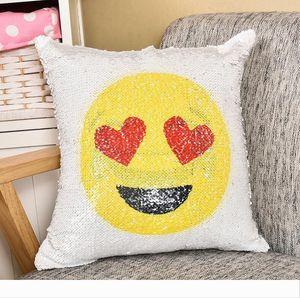 Emoji Capa de Almofada Lantejoula fronha dobro tomou fronha almofadas decorativas para o sofá Lance fronha Home Decor 8 ColorFree DHL grátis