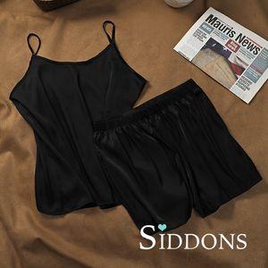 Siddons Sexy Women Lingerie Set Sleepwear Green Imitate Seda Top y Shorts 2 piezas Sets Pijama Set Ladies Pijama Mujer HDSX