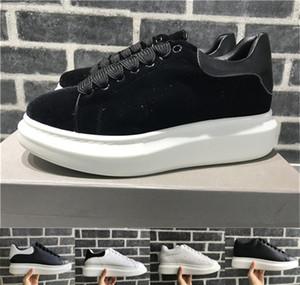 2018 Velvet Black Frauen der Männer Chaussures Schuh Schöne Plattform-beiläufige Turnschuhe Leder Volltonfarben Eleganter Schuh