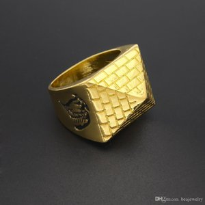 Men Punk Egyptian Pyramid Ring Fashion Hip hop Jewelry Gold Color Charm Alloy Metal Rings Women