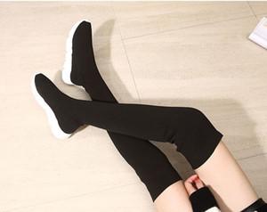 FREIES VERSCHIFFEN schenkelhohe Stiefel Mode Overknee Stiefel elastische Stiefel Frauen Winter Herbst neue Strümpfe Schuhe Keilfrauen