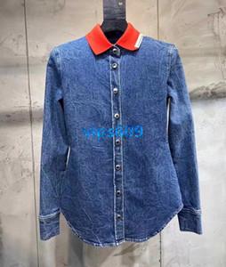 Señoras de dril de algodón camisa de jeans camisas de las mujeres de gama alta del ajustado casual camisa para mujer de manga larga de la blusa de la vendimia Mujer del vaquero resorte de la ropa