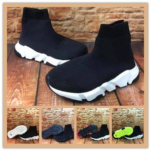 2020 새로운 파리 속도 트레이너 니트 럭셔리 디자이너 어린이 양말 신발 원래 키즈 스니커즈 저렴한 하이 탑 품질 캐주얼 신발 size24-35