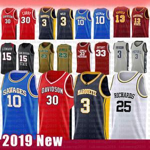 30 Stephen Curry NCAA Davidson Wildcats College Basketball Jersey 3 Dwyane Wade 10 Dennis Rodman 25 RICHARDS Marquette Eagles d'or jerseys