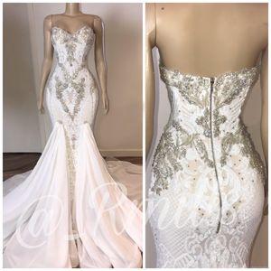2020 Tamaño del estilo de país que rebordea la sirena vestidos de novia sin espalda de encaje apliques Plus Vestidos de novia vestido de novia de Bohemia