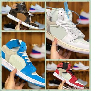 Nike Air jordan 1 x Retro off AJ1 high 1 Alta Mens X ao ar livre Sapatos OG UNC Branco Chicago NRG Sem L's não para revenda não há fotos 1S Sports Designer Sneakers36-46