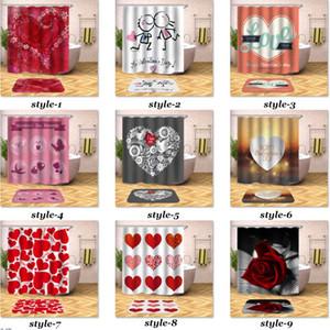 Chuveiro Dia dos Namorados Cortina Romantic Love Red Rose Coração Banho Shower Curtain Tecido poliéster impermeável com 12pcs Hooks 180X180cm