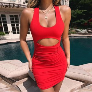 Nadafair лето мини сексуальное платье Bodycon Женщины Ruched выдалбливают Backless Wrap бинты Холтер клуб платье партии Красный Vestidos
