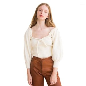 Kol Kısa Triko Dişi Tasarımcı Giyim Kadın Retro Kare Yaka Triko Lace Up ilmek Düşük Kesim Fener