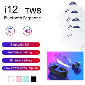Colores multi I12 TWS 5.0 Bluetooth Wireless Headset Barco Rosa de los auriculares E19 auriculares auriculares de color blanco táctil Negro Rojo Verde libre de DHL