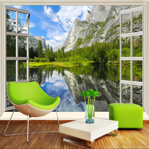 Custom 3D Wall Murals Classic Window Lake Mountain Nature Scenery Photo Wallpapers Living Room Bedroom 3D Decor Papel De Parede