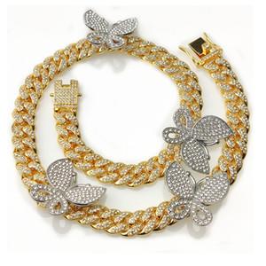 Hip Hop Bling Catene Zircon del mosaico collana della farfalla cubana di collegamento Catene per uomini e donne gioielli
