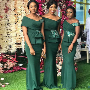2020 Elegant Emerald Green Mermaid Bridesmaid Dresses Off the Shoulder Applique Maid Of Honor Dress African Wedding Guest Party Gowns