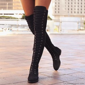 Winter New Women Fashion Casual Thigh-High Boots Low Heels Over-the-knee Faux Suede Lacing Long Boots Shoes Large Size Eu 35-43 7S