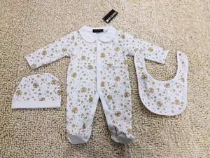 INS Осень мальчиков Rompers Дизайнер Дети Stripes нагрудные длинным рукавом Комбинезоны для новорожденных девочек Письмо вышивки хлопка Ползунки Мальчик одежда