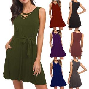Для женщин Летний Новый конструктор Сплошной цвет пояса платье Мода V шеи без рукавов Одежда Famale Повседневные платья