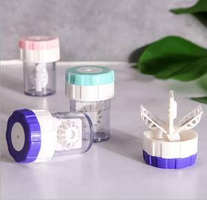 5PCS calidad de la lente de contacto giran portátil más limpia manualmente la lavadora inteligente recipiente para las lentes de contacto caso socio lente barato al por mayor