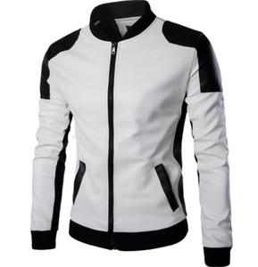 Más el tamaño de los hombres chaquetas de cuero de invierno del collar del soporte del diseñador del Mens las chaquetas masculino