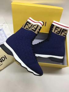2020 INS HOT Branded femmes stretch Tissu haute multicouleur hauts en cours Sock Sneaker Lady Mania Appliqué Semelle en caoutchouc Chaussures Casual 35-45 1001