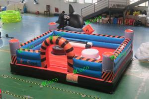 Juego de jousting inflable de 5x4 m a la venta, juego de gladiadores inflables de gladiadores barato, estadio de jousting inflable