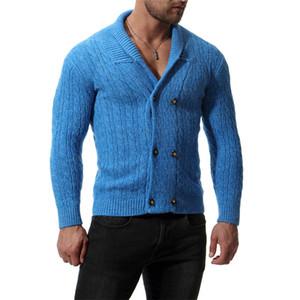 Diseñador otoño e invierno para hombre suéteres de moda Slim Fit Manga larga Tops de lana del color sólido de