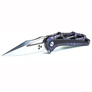 Handle JR9393 azul-M390 Folding Pocket Knife azul TC4 Titanium fibra de carbono de liga com Voltar Clipe Chaveiro tático Faca com abridor de garrafas