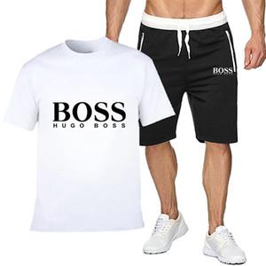 Patrons concepteurs Hommes T-shirt + Shorts Set Hugo été à manches courtes Survêtement Gymnases Casual Male T Shirt 2 Piece Marque Vêtements 668