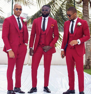 Wedding Tuxedos for Groom Wear 2020 Groomsman Attire Prom Party Slim Fit Business Men 3 Pieces Set Suits (Jacket +Vest+ Pants) Tailor Made