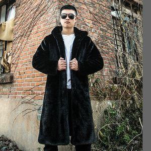Yeni Faux Fur Coat Klasik Casual Erkek Sahte Kürk Vizon Kapşonlu Orta Boy Kış