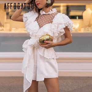 Affogatoo Vintage Victorian Rendas Blusa Branca Mulheres Transparente Malha Dot Verão Top 2019 Chiffon Sash Elegante Femme Camisa Plissado J190613
